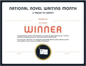 NaNoWriMo Winner's Certificate - Young Adult Author Rendezvous
